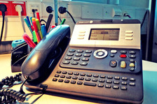 A telephone on a desk