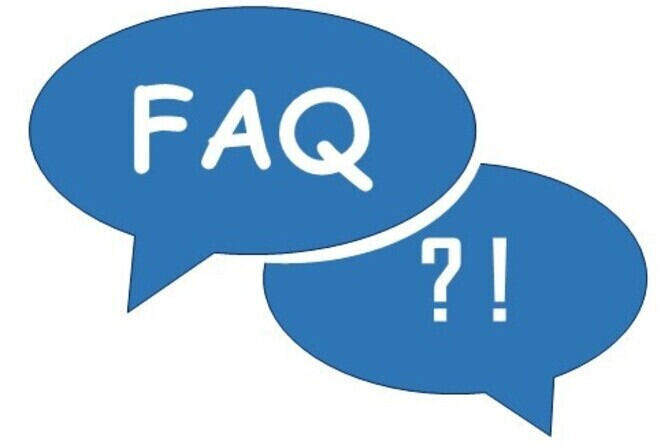 "A speech bubble with the word ""FAQ"""